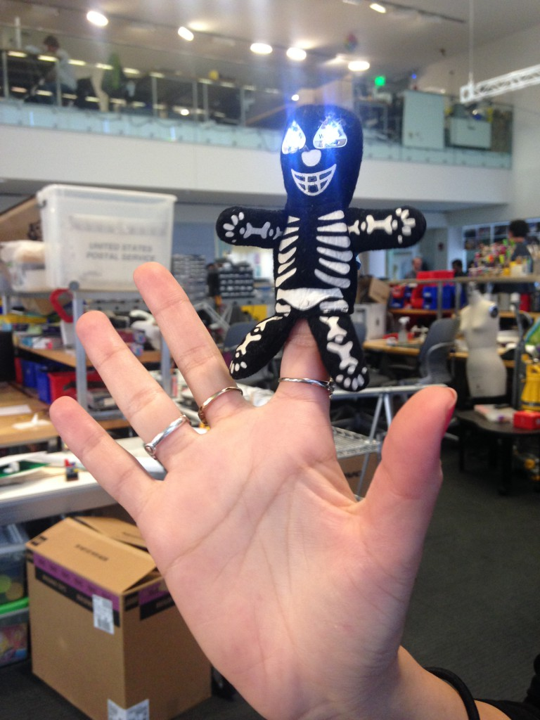 Light-up finger puppet LED stickers sewn with conductive thread