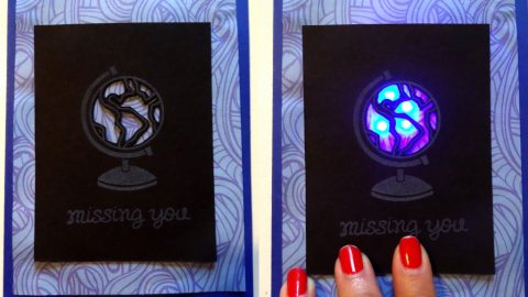 Magical Globe Card with Blinking Slide Switch using Lawn Fawn stamps