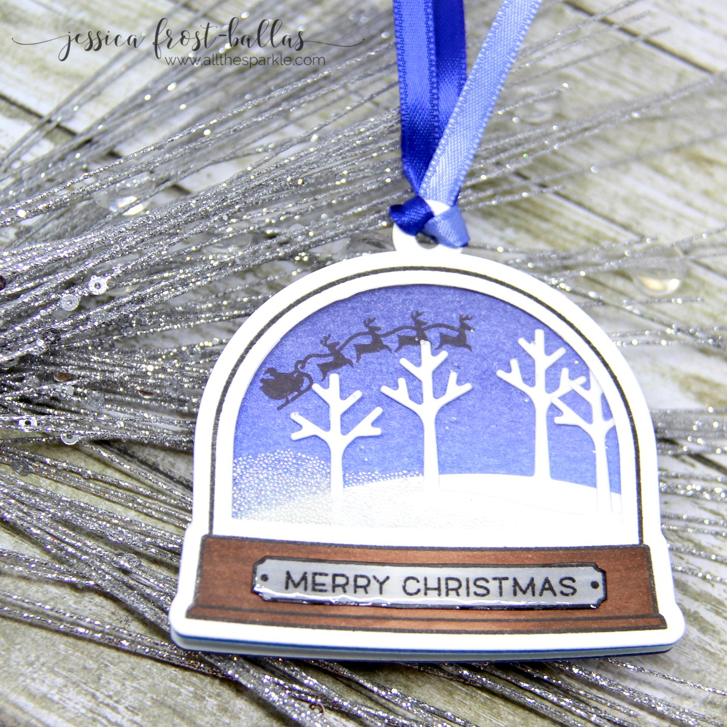 Light-up ornament card featuring Lawn Fawn stamp and Chibitronics LED Circuit Stickers