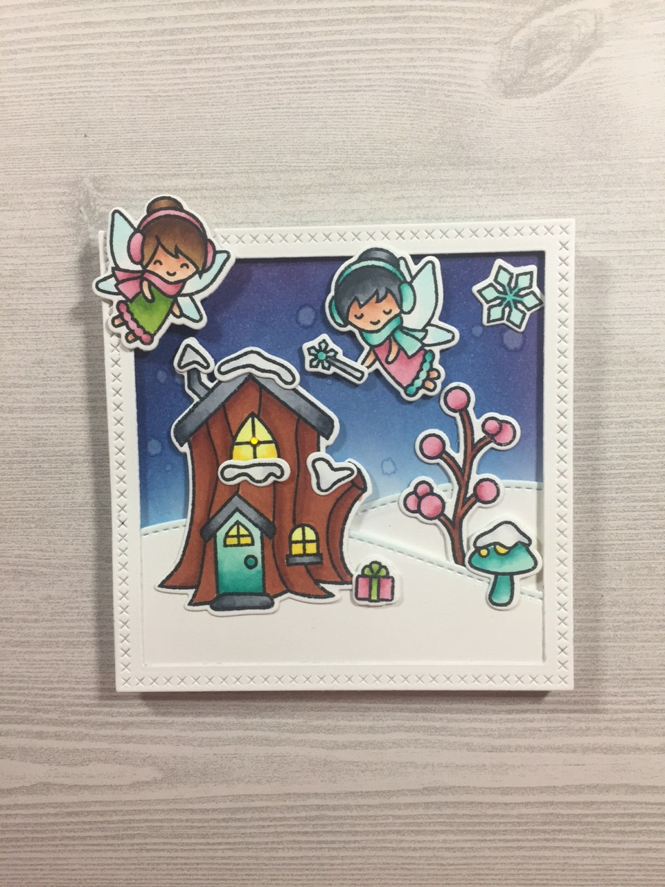 Light-Up Card featuring Lawn Fawn Fairy Friends Stamp and Die and Chibitronics LED Circuit Stickers