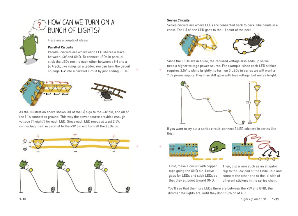 illustrations of series and parallel circuits from the Love to Code book