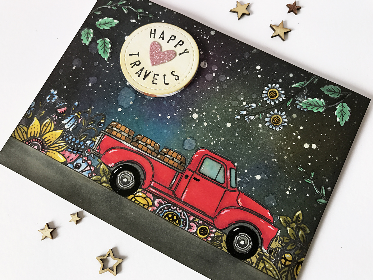 Fantasy night scene card, light-up car window