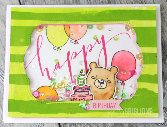 6th Birthday Bear Shaker Card