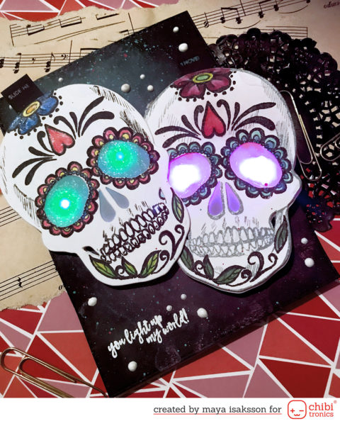 Sugar skulls with flashing eyes, using Chibitronics effect stickers