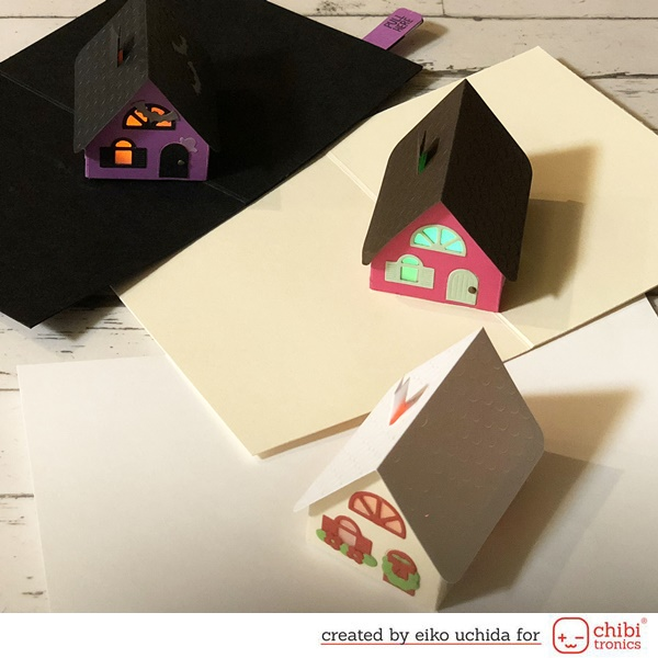 How to make light up Holiday 3D house card.