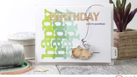 Kitty Plays with Mouse and Lights Up Birthday Card