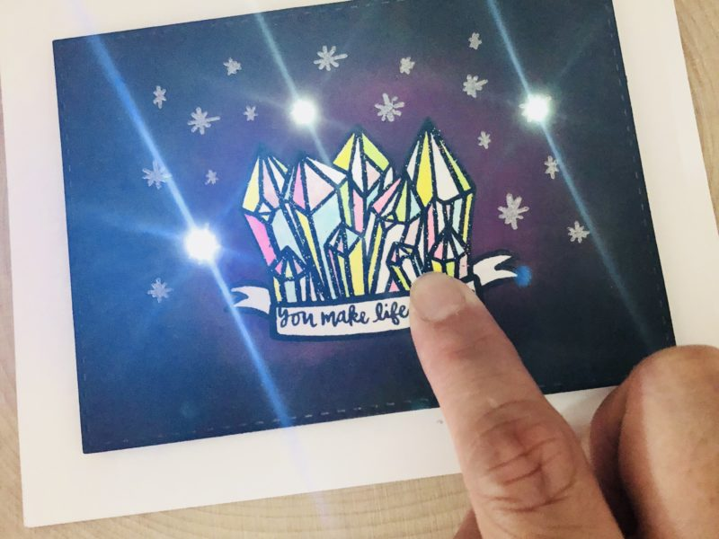 Twinking Crystal Card With Faded Effect Sticker