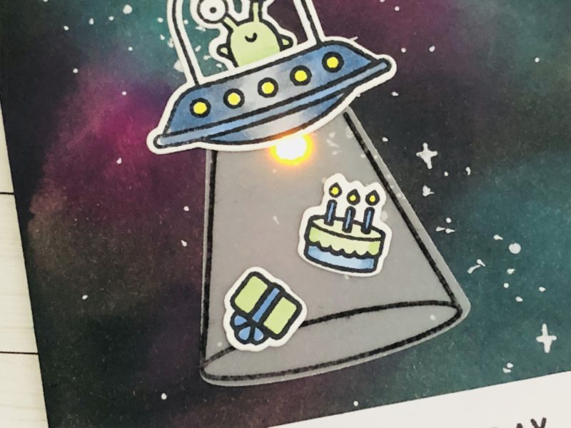 Beam Me Some Cake – Lighted Up Space Ship Card