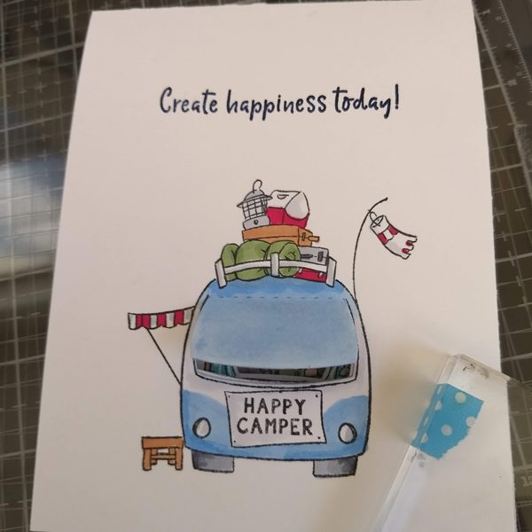 Peek the Inside of the Camping Car….. A Light Up Peek a Boo Card  ~  with the switch separated paths