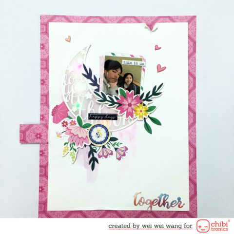 Light up scrapbooking layout using Chibitronics LED stickers