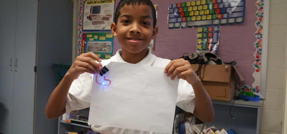 4th Grader builds simple circuit LED circuit sticker