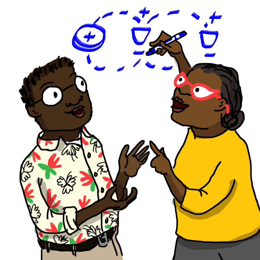 illustration of two teachers at a whiteboard, one drawing a circuit diagram