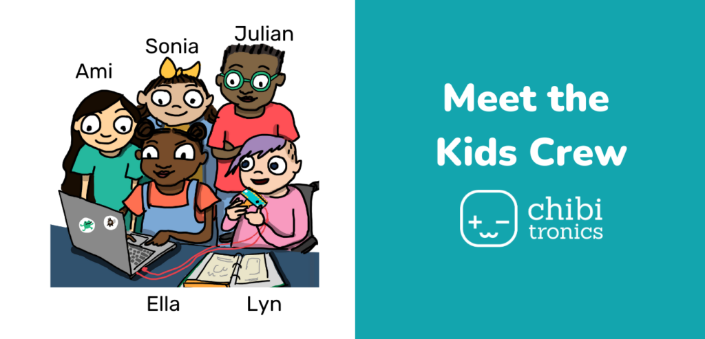 Illustration showing a group of 5 kids around a computer. The right side of the image has the text 'Meet the Kids Crew'