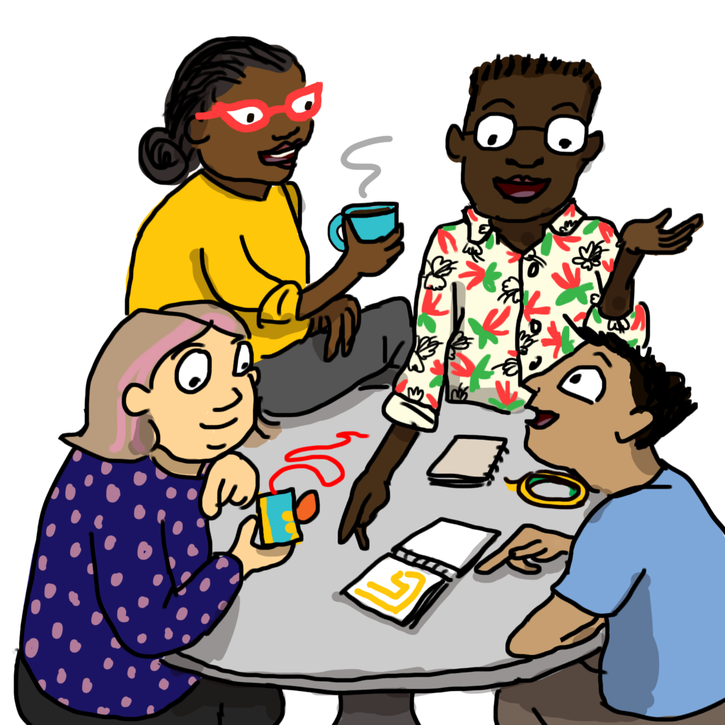 illustration of four teachers at a table working with paper circuits materials