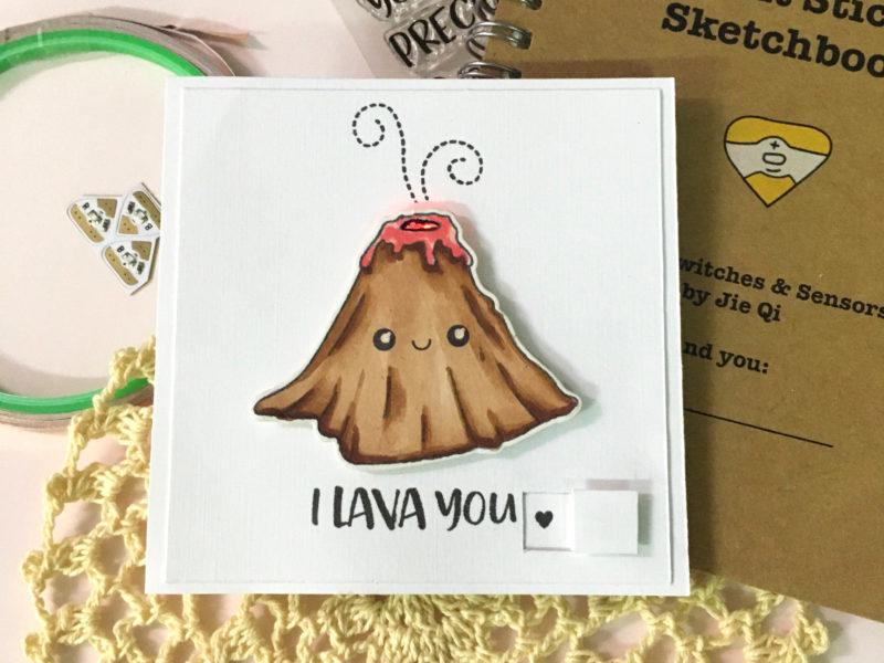 Light up volcano card