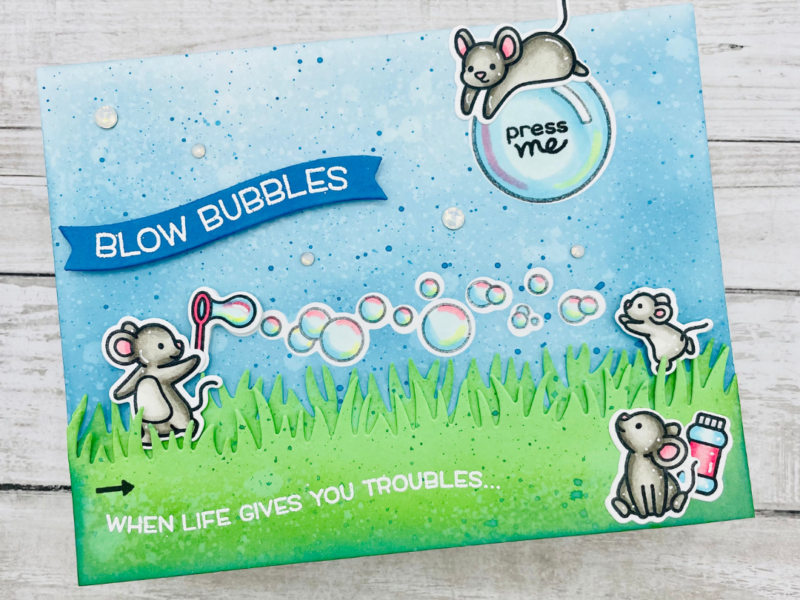 Bubbles Slider Light Up Card with Lawn Fawn and Chibitronics